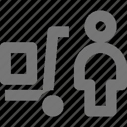 box, profile, trolley, user icon