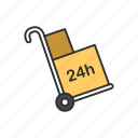 delivery boxes, dolly, shipping, twentyfour day delivery icon