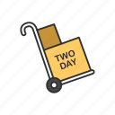 delivery boxes, dolly, shipping, two day delivery icon