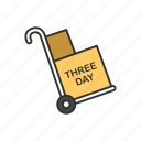 delivery boxes, dolly, shipping, three day delivery icon