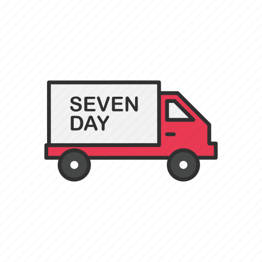 delivery, delivery truck, seven day shipping, shipping icon