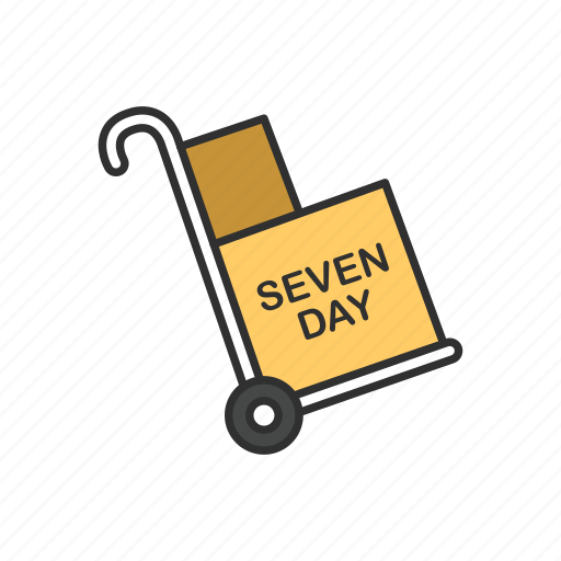 delivery boxes, dolly, seven day delivery, shipping icon