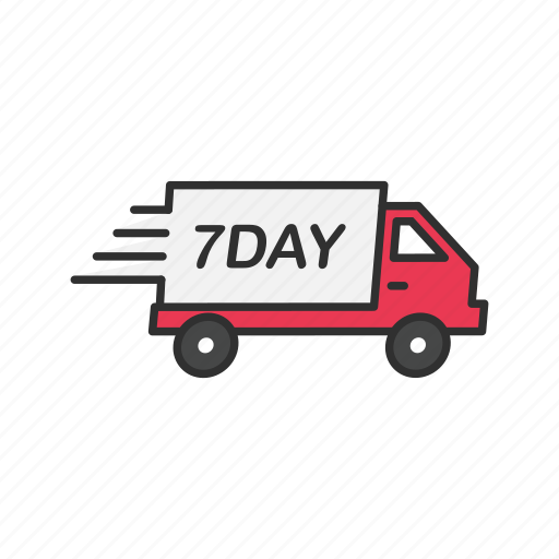 delivery, seven day shipping, shipping, shipping truck icon