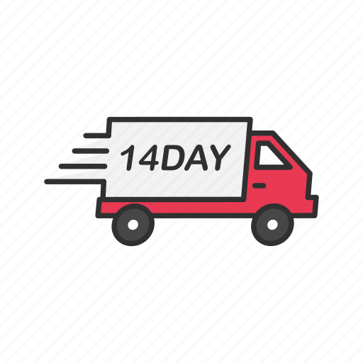 delivery, delivery truck, fourteen day shipping, shipping icon