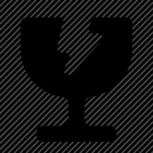 broken, delivery, fragile, fullfillment, glass, mark, shipping icon