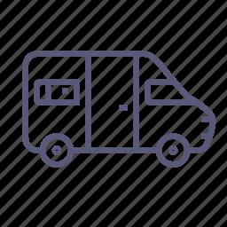 bus, minibus, minivan, motorhome, shipping, transport, trip icon