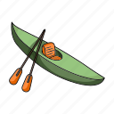 canoe, kayak, ship, transport, vehicle, water icon