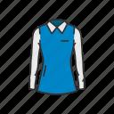 clothes, clothing, fashion, female polo, long sleeve, polo, sweatshirt icon