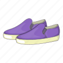 cartoon, fashion, footwear, glamour, loafers, purple, sign icon