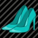 blue, cartoon, fashion, heel, shoes, sign, women icon
