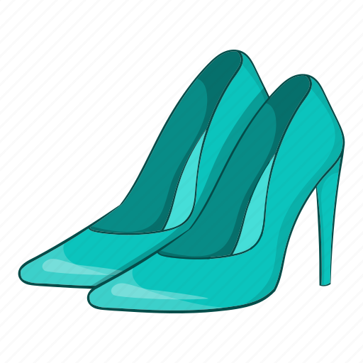 Blue, cartoon, fashion, heel, shoes, sign, women icon - Download on Iconfinder