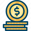 coin, coins, dollar, money icon