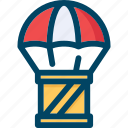 box, delivery, logistics, parachute, shipping icon