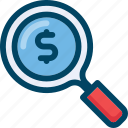 business, dollar, magnifier, prise, search, shop icon