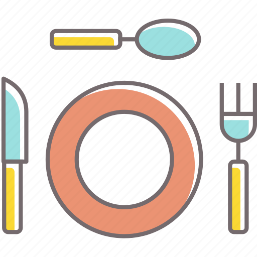 dinner, food, fork, knife, meal, plate, spoon icon