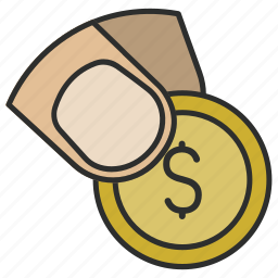 cash, coin, dollar, finger, hand, payment, shop icon