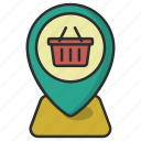 address, buy, cart, navigation, pin, shop, shopping icon