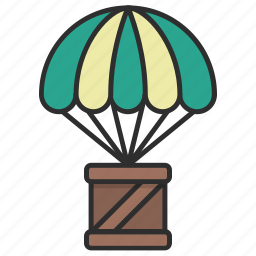 box, cargo, container, delivery, drop, parachute, supply icon