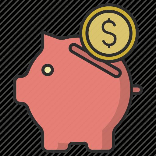 coin, money, pig, piggy bank, saving icon