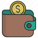 cash, coins, dollar, euro, money, money wallet, wallet icon