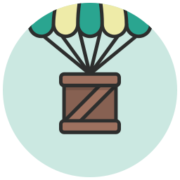 box, cargo, container, delivery, parachute, supplies, supply icon