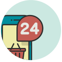 call centre, call service, helpdesk, hotline, service, support, twenty four hours icon