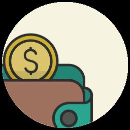 cash, coins, dollar, euro, money, money wallet, wallet icon
