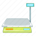 analysis, appliance, balance, bench scales, cartoon, device, illustration icon