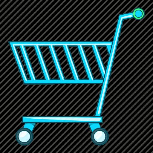 blue, buy, illustration, shopping cart, sign, supermarket icon