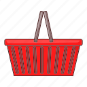 basket, illustration, red, shop, shopping basket, supermarket icon