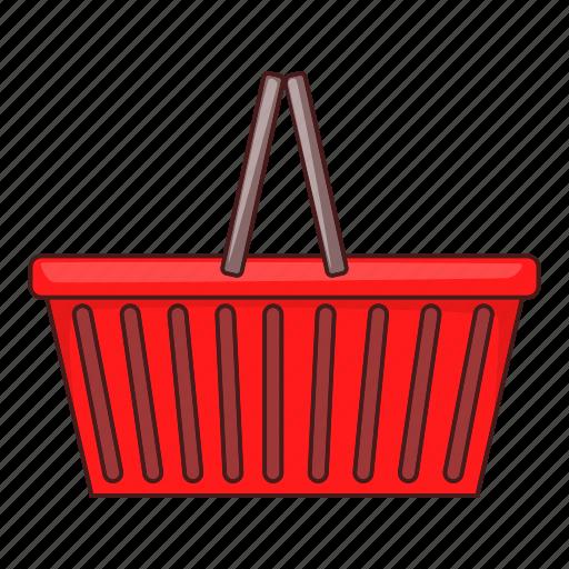 basket, illustration, red, shop, shopping basket, supermarket icon