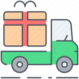 delivery, gift, logistic, shipping, surprise, transportation, truck icon