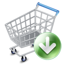 down, ecommerce, shopping cart, webshop icon