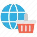 eommerce, global market, shopping basket, trade, website icon