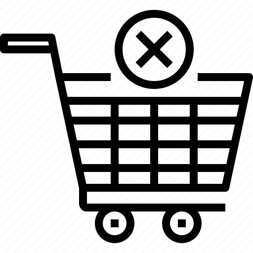 cart, commerce, e-commerce, sale, shop, shopping, x icon