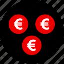 ecommerce, euro, online, shop, shopping, three icon