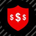 dollar, ecommerce, online, shield, shop, shopping icon