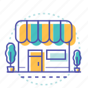 building, cart, market, shop, shopping, store icon