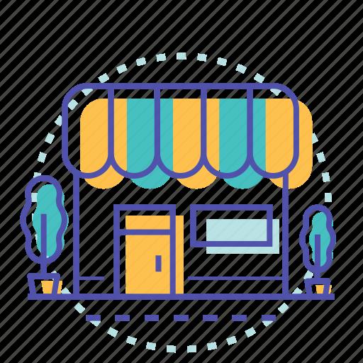building, cart, market, shop, shopping, store icon