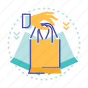 bag, cart, hand, sale, shop, shopping icon
