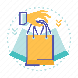 bag, cart, hand, sale, shop, shopping icon