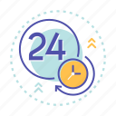 clock, delivery, hours, open, service, shopping icon