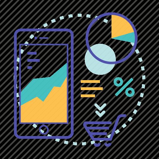 analytics, cart, customer, data, report, shopping icon