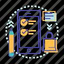 checklist, list, marker, mobile, order list, shopping icon
