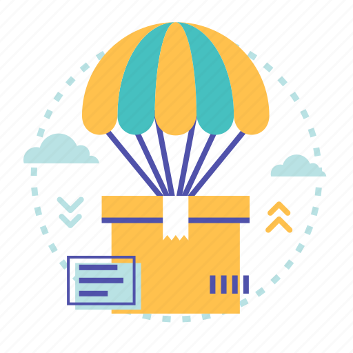 box, deliver, delivery, parachute, product, shopping icon
