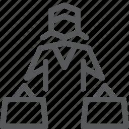 bag, basket, female, market, shopper, shopping, store, user icon