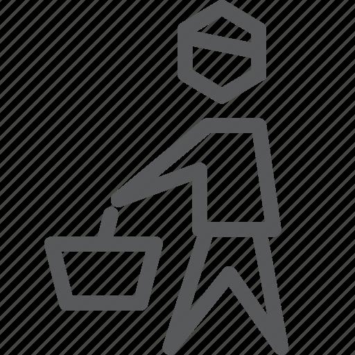 bag, basket, male, market, shopper, shopping, store, user icon
