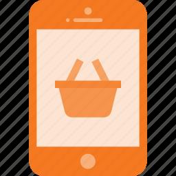 basket, mobile, phone, shopping, smartphone icon