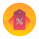 buy, item, percentage, sale, tag icon