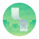 collect, paper, percentage, receipt icon